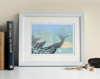 Linocut of a fishes | limited edition | original print | color version II