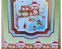 Unique owl christmas card related items  Etsy