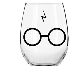 Harry Potter Glasses Stemless Wine Glass, Harry Potter Scar and Glasses Wine Glass