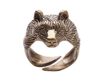 Bronze Bear ring. Viking bronze jewerly. Bears head ring. Viking ring