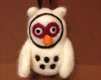 Needle felted white owl ornament