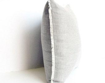 Herringbone Linen Pillow Cover, Linen  Pillow Covers 20x20, 18x18, 16x16, 24x24, Linen Pillow with Fringes, Grey Linen Pillow case