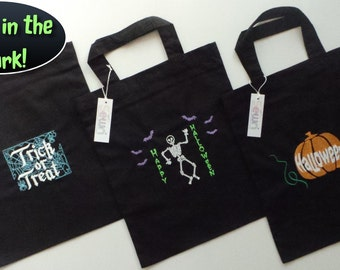 Embroidered Halloween 'Glow in the Dark'  Trick or Treat Bags with FREE PERSONALISATION*
