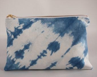 Indigo Shibori Dyed Clutch/Makeup Pouch