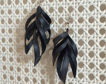 Rubber inside-out loop earrings, black earring, bike inner tube earring, vegan statement earring, recycled materials, avante garde earring