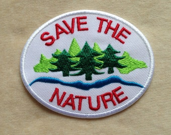 Save The Nature Iron On Patch #White Blue