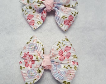 Floral hairbows, Girls flower hairbow, Spring hairbows, Toddler hairbows, Pastel hairbows, Girls Pink hairbows, set of 2, Infant hairbows