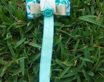 White & Green Rose Headband