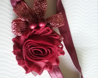 Burgundy Rose Headband