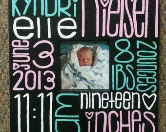 Hand Painted Baby Keepsake Frame - newborn - memory frame - baby stats - name and weight - nursery decor