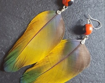 Yellow parrot feather Earrings with green tips and red huayruro beeds