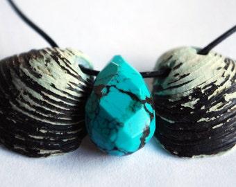 Genuine turquoise seashell necklace