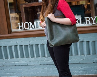 Classic Leather Tote Bag - Custom made to order