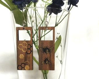 Hand painted bee/honeycomb laser cut walnut wood earrings