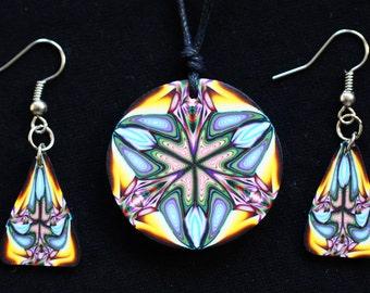 Psychedelic kaleidoscopic mandala fimo jewelry necklace and/earrings