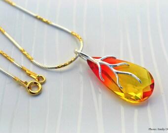 Swarovski teardrop in fireopal necklace