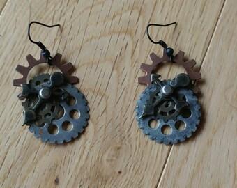 Steampunk earrings, industrial, sci-fi