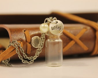 Wifey Charm on Empty Vial Necklace