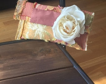 Silk clutch with silk white rose