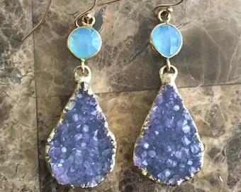 Blue Chalcedony Chandelier Earrings Druzy Quartz Agate Earrings Drusy Teardrop Earrings