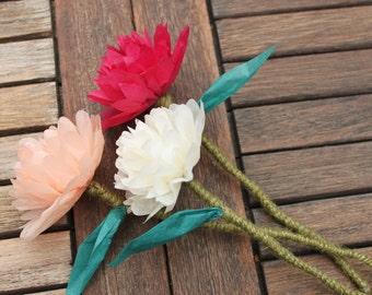 10 Custom Tissue Paper Single Stem Flowers/ Wedding, Christening, Funeral, Birthday Party Decorations