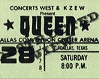 Queen Unused Concert Ticket