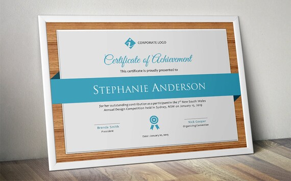 Wood corporate business certificate template for MS Word – Corporate Certificate Template