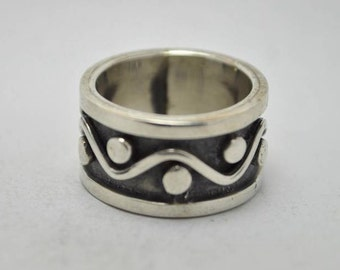 T19B07 Vintage Signed Taxco TC-211 Deco Sty Geometric Wave 925 Sterling Silver Ring Sz 6.25  Mexico