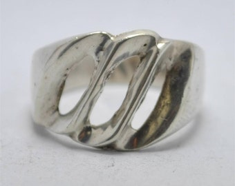 T13A03 Vintage Art Deco Style Abstract Cutout Wave 925 Sterling Silver Ring Size 7  Mexico