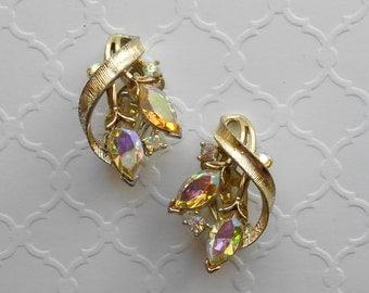Vintage Signed Lisner Gold Tone Aurora Borealis Rhinestone Clip Earrings