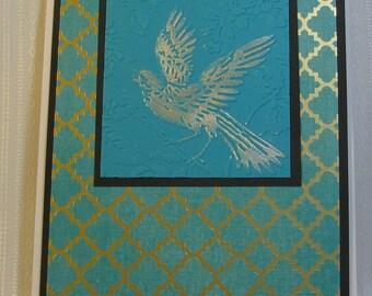 Embossed Bird in Teal Blue