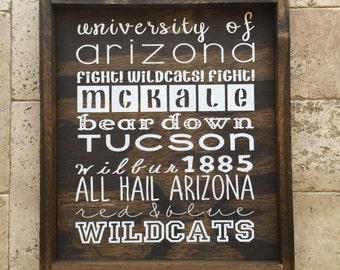Wood Sign University of Arizona Fight Wildcats Fight McKale Bear Down Wilbur 1885 All Hail Arizona Red & Blue Wildcats 14x16 plus frame