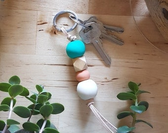 Ivory Sienna Teal Polymer Clay Leather Keyring