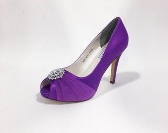 Purple High Heels with Crystal Ornament, Purple Bridal Shoes, Purple Heels, Custom Wedding Shoes