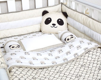 Peekaboo Panda-Organic Crib Bedding Set, Masilo Baby Bedding, Baby Blanket, Baby Bedding, Baby Crib, Panda Crib Set, Gender Neutral Bedding