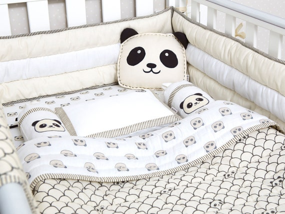 Peekaboo Panda Organic Crib Bedding Set Masilo Baby Bedding