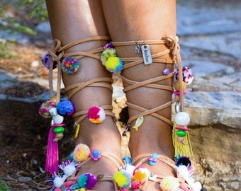 "Lace Up Summer Shoes, Bohemian Pom Pom Sandals, Women Leather Shoes, Greek Sandals, ""Multicolored Seashore"""