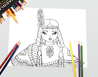 Indian Coloring Page, Indian Coloring, Thanksgiving Coloring Page, Thanksgiving Coloring, Indian Printable, Native American