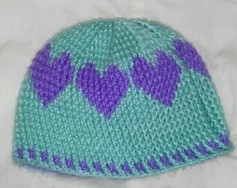 Love Hearts crochet hat