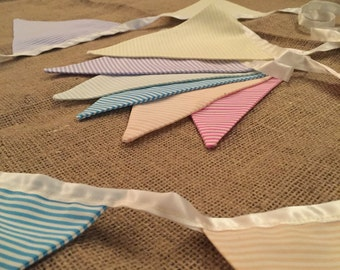 Striped pastel fabric bunting