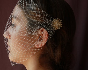 French bandeau blusher veil - Gatsby birdcage veil - vintage wedding - 1920s bridal - romance bandeau net french lace head covering