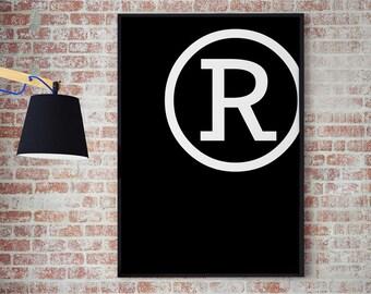 R // Typography // Letter // Alphabet // Gallery Wall // Geometric Art // Office Decor