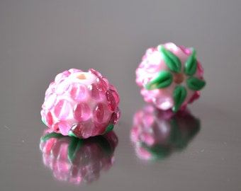 Berry beads, handmade lampwork beads, pink