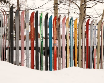 Note Card - Old Skis - Winter Fence