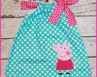 Peppa Pig  Pillowcase style dress  aqua polka dot and hot pink polka dot matching hair bow available