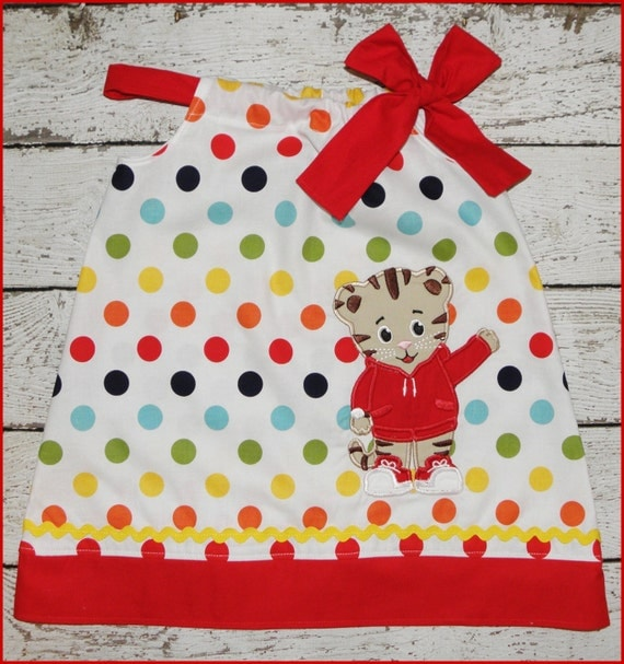 Cute Daniel the Tiger  Pillowcase style dress Rainbow Polka dot and red tie and hem