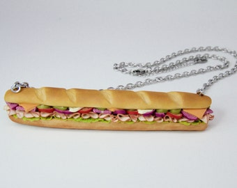 Large Polymer Clay Sandwich Necklace, Miniature Food Jewelry
