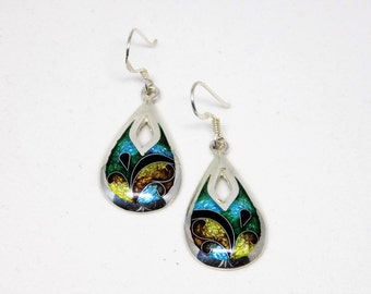 Enamel dangle earrings, turquoise silver earrings, earrings for women, sterling dangles, free shipping, gift for her
