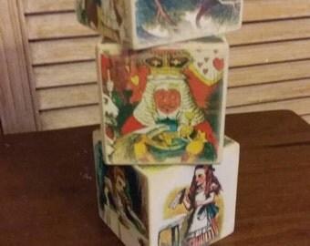 Alice in wonderland picture blocks cubes