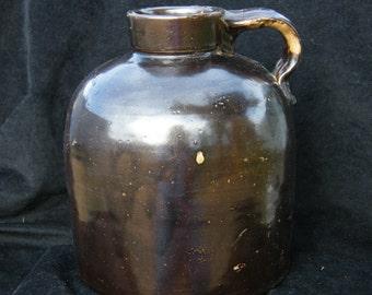 "Vintage ""Whiskey Jug"", Dark Brown Metalic Glaze over Lighter Brown Ground"